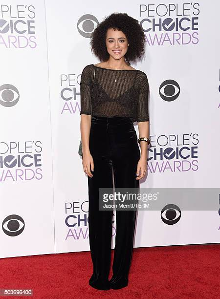 Actress Nathalie Emmanuel attends the People's Choice Awards 2016 at Microsoft Theater on January 6 2016 in Los Angeles California