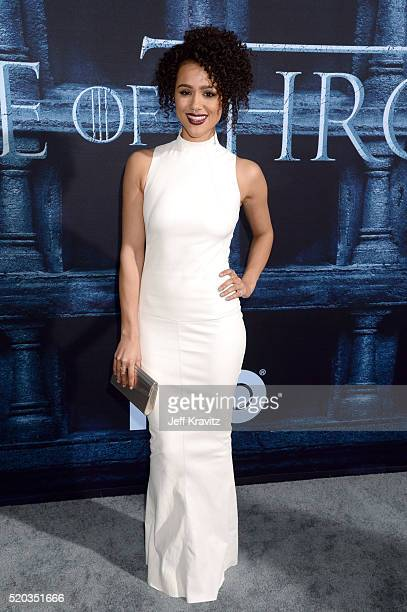 Actress Nathalie Emmanuel attends the premiere for the sixth season of HBO's 'Game Of Thrones' at TCL Chinese Theatre on April 10 2016 in Hollywood...
