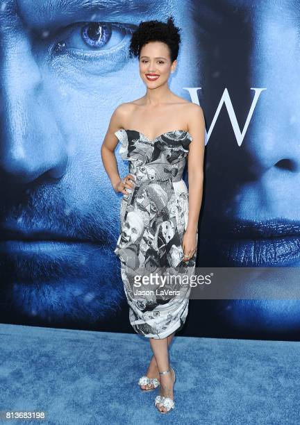 Actress Nathalie Emmanuel attends the season 7 premiere of 'Game Of Thrones' at Walt Disney Concert Hall on July 12 2017 in Los Angeles California