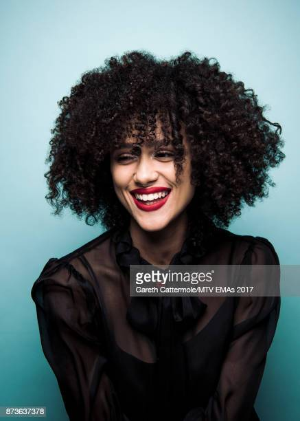 Actress Nathalie Emmanuel poses in the Studio during the MTV EMAs 2017 held at The SSE Arena Wembley on November 12 2017 in London England