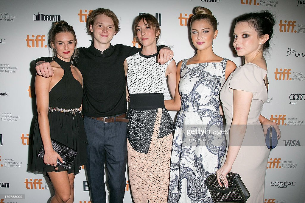 Actress Nathalie Love actor Jack Kilmer director Gia Coppola actress Zoe Levin and actress Claudia Levy arrive at the 'Palo Alto' premiere during the...
