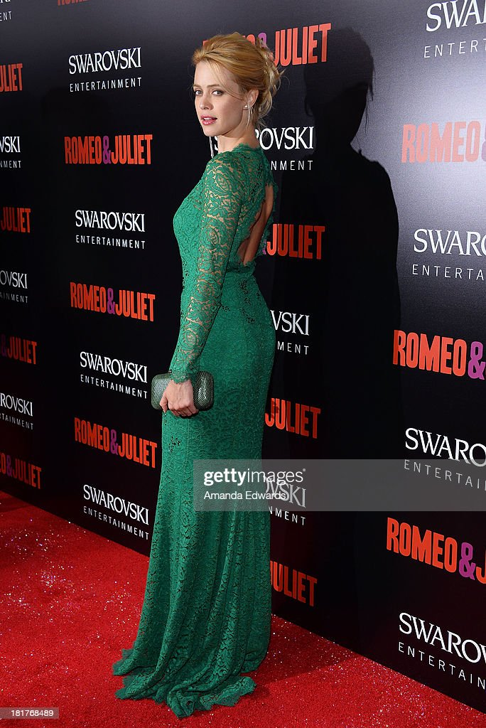 Actress Nathalie Rapti Gomez arrives at the world premiere of 'Romeo and Juliet' at the ArcLight Hollywood on September 24, 2013 in Hollywood, California.