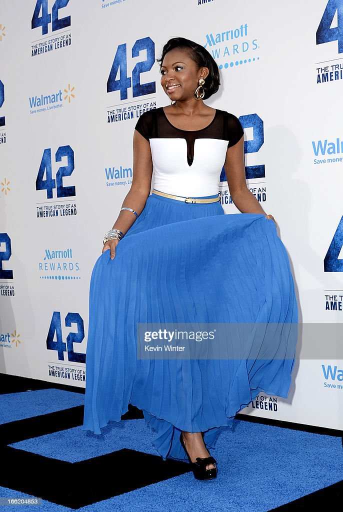 Actress Naturi Naughton arrives at the premiere of Warner Bros. Pictures' and Legendary Pictures' '42' at the Chinese Theatre on April 9, 2013 in Los Angeles, California.