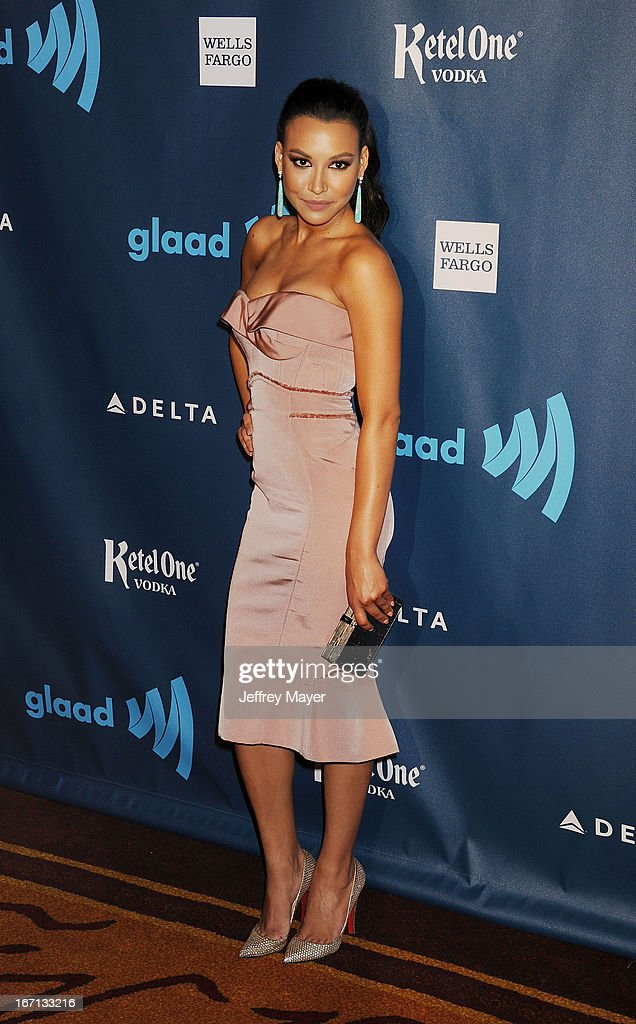 Actress <a gi-track='captionPersonalityLinkClicked' href=/galleries/search?phrase=Naya+Rivera&family=editorial&specificpeople=5745696 ng-click='$event.stopPropagation()'>Naya Rivera</a> arrives at the 24th Annual GLAAD Media Awards at JW Marriott Los Angeles at L.A. LIVE on April 20, 2013 in Los Angeles, California.
