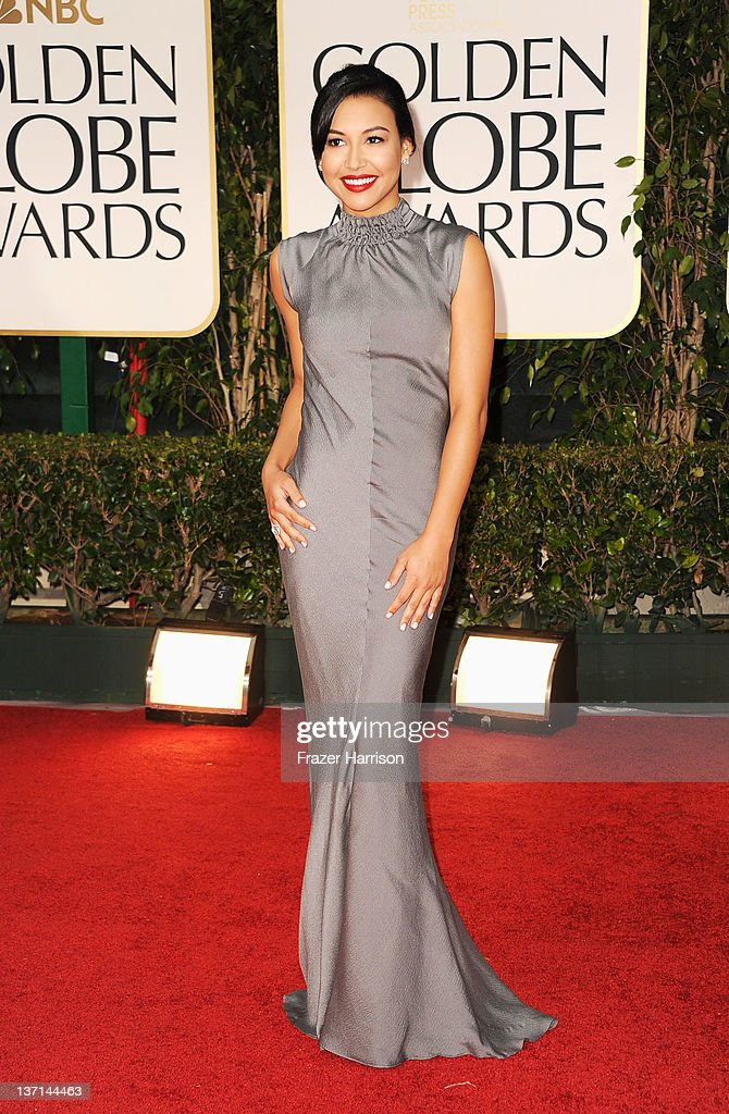 Actress <a gi-track='captionPersonalityLinkClicked' href=/galleries/search?phrase=Naya+Rivera&family=editorial&specificpeople=5745696 ng-click='$event.stopPropagation()'>Naya Rivera</a> arrives at the 69th Annual Golden Globe Awards held at the Beverly Hilton Hotel on January 15, 2012 in Beverly Hills, California.