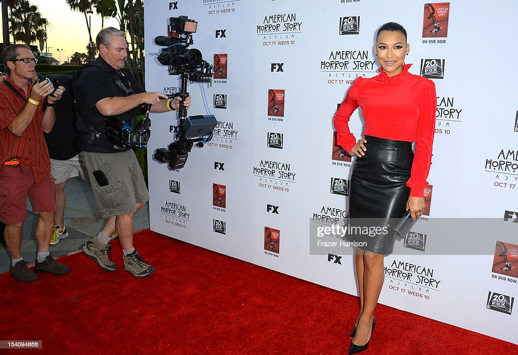 Actress <a gi-track='captionPersonalityLinkClicked' href=/galleries/search?phrase=Naya+Rivera&family=editorial&specificpeople=5745696 ng-click='$event.stopPropagation()'>Naya Rivera</a> arrives at the Premiere Screening of FX's 'American Horror Story: Asylum' at the Paramount Theatre on October 13, 2012 in Hollywood, California.