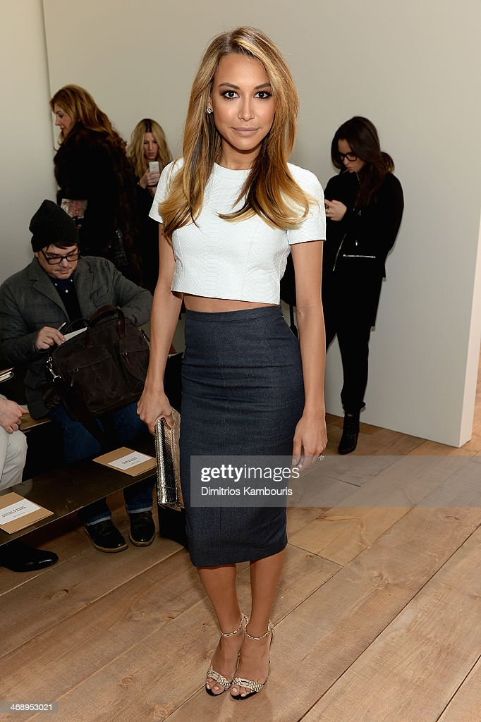 Actress <a gi-track='captionPersonalityLinkClicked' href=/galleries/search?phrase=Naya+Rivera&family=editorial&specificpeople=5745696 ng-click='$event.stopPropagation()'>Naya Rivera</a> attends the Michael Kors fashion show during Mercedes-Benz Fashion Week Fall 2014 at Spring Studios on February 12, 2014 in New York City.