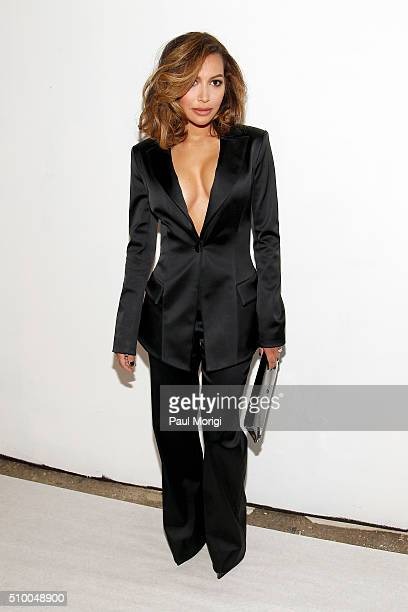Actress Naya Rivera poses backstage at the Christian Siriano Fall 2016 fashion show during New York Fashion Week at ArtBeam on February 13 2016 in...