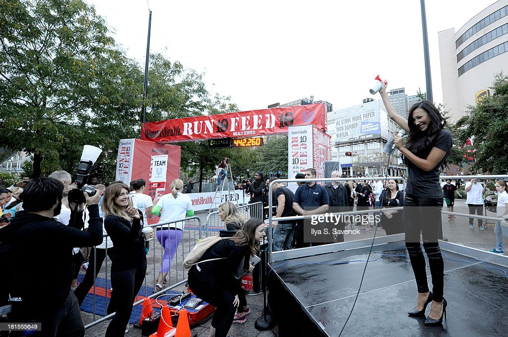 Actress <a gi-track='captionPersonalityLinkClicked' href=/galleries/search?phrase=Naya+Rivera&family=editorial&specificpeople=5745696 ng-click='$event.stopPropagation()'>Naya Rivera</a> speaks at the Women's Health Magazine RUN10 FEED10 NYC 10K Race Event at Pier 84 on September 22, 2013 in New York City.