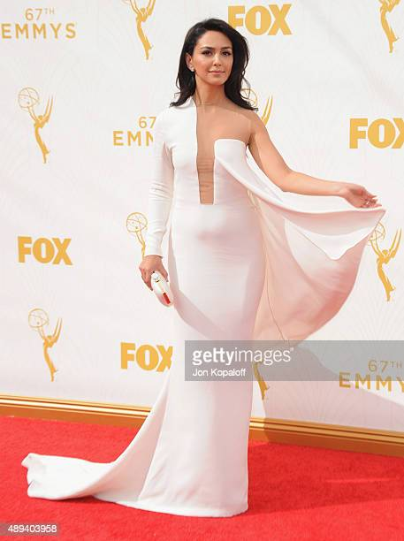 Actress Nazanin Boniadi arrives at the 67th Annual Primetime Emmy Awards at Microsoft Theater on September 20 2015 in Los Angeles California