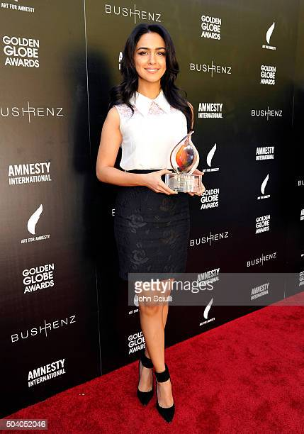 Actress Nazanin Boniadi attends the Art For Amnesty PreGolden Globes Recognition Brunch at Chateau Marmont on January 8 2016 in Los Angeles California