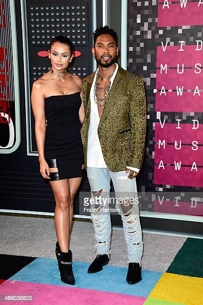 Actress Nazanin Mandi and recording artist Miguel attend the 2015 MTV Video Music Awards at Microsoft Theater on August 30 2015 in Los Angeles...