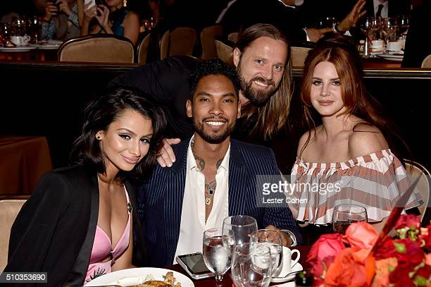 Actress Nazanin Mandi recording artist Miguel guest and recording artist Lana Del Rey attend the 2016 PreGRAMMY Gala and Salute to Industry Icons...