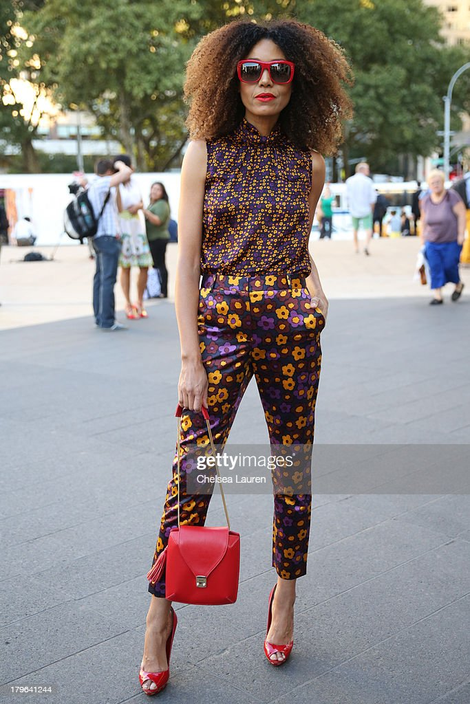 Actress Ndoema is seen wearing a Silk New York ensemble, Onna Ehrlich purse, Miu Miu shoes and Benjamin eyewear on the streets of Manhattan on September 5, 2013 in New York City.