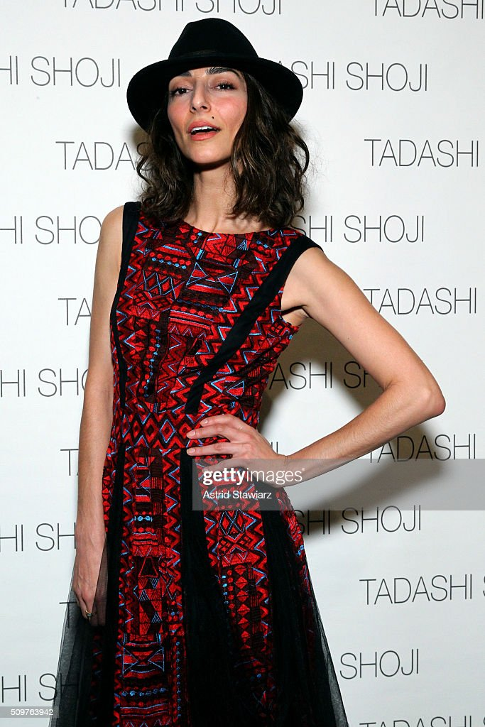 Actress <a gi-track='captionPersonalityLinkClicked' href=/galleries/search?phrase=Necar+Zadegan&family=editorial&specificpeople=5858349 ng-click='$event.stopPropagation()'>Necar Zadegan</a> poses backstage at the Tadashi Shoji Fall 2016 fashion show during New York Fashion Week: The Shows at The Arc, Skylight at Moynihan Station on February 12, 2016 in New York City.