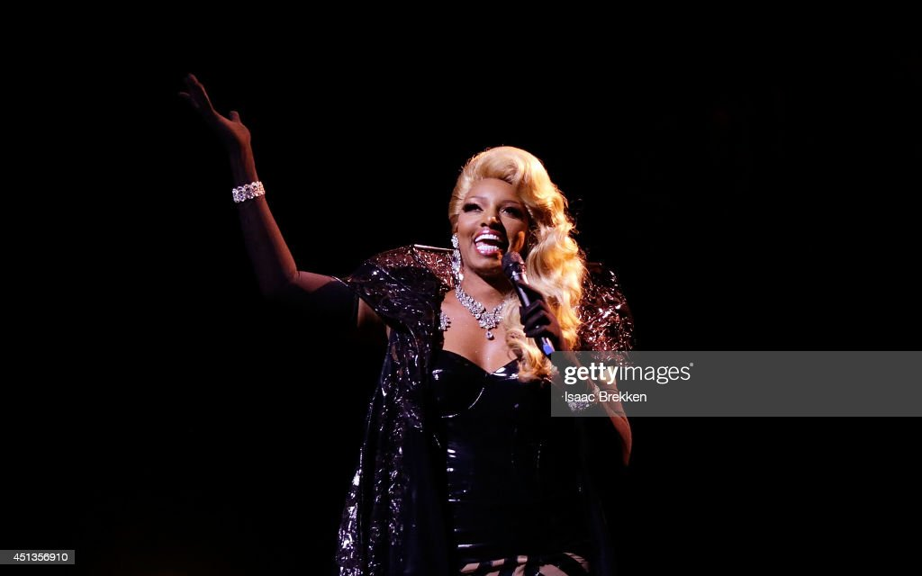 Actress NeNe Leakes performs in 'ZUMANITY The Sensual Side of Cirque du Soleil' at the New YorkNew York Hotel Casino on June 27 2014 in Las Vegas...