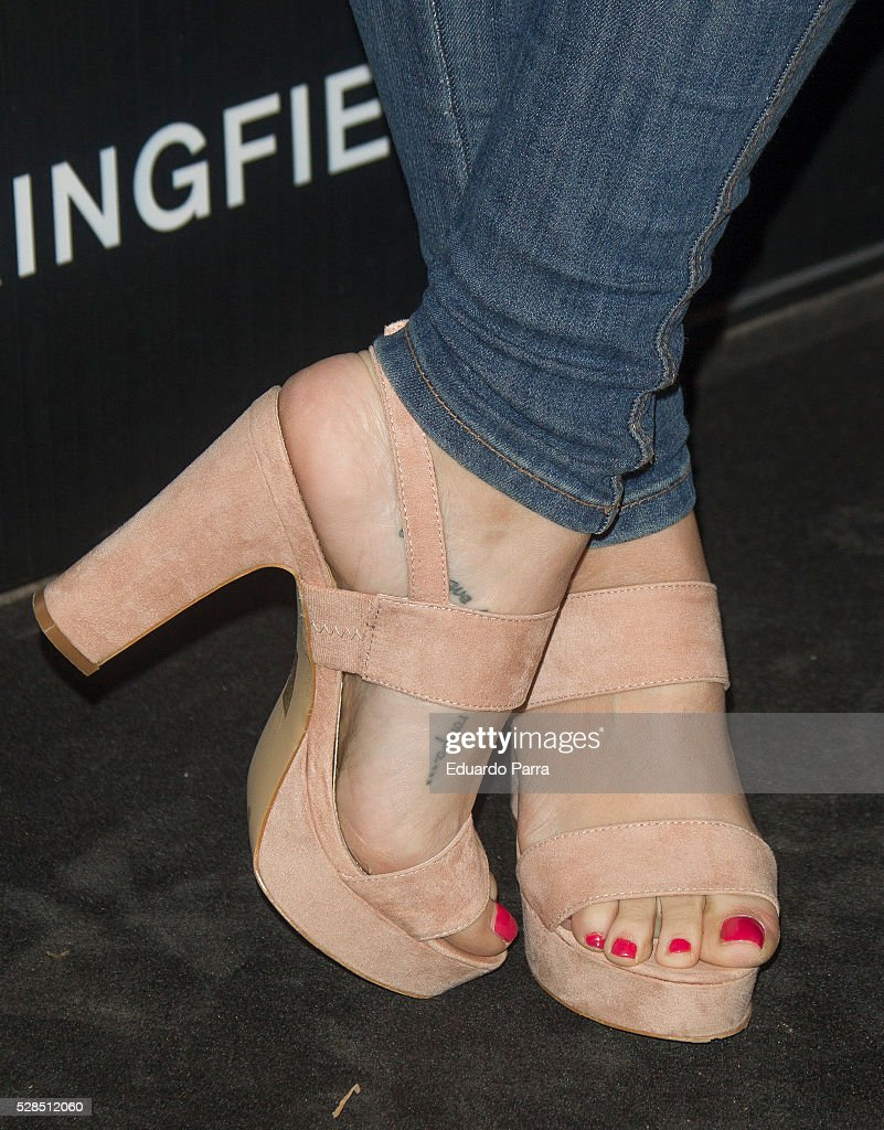 Actress Nerea Garmendia, shoes detail, attends the Springfield fashion film presentation photocall at Fortuny palace on May 05, 2016 in Madrid, Spain.