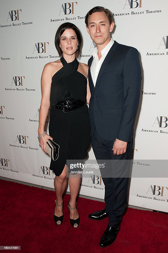 Actress <a gi-track='captionPersonalityLinkClicked' href=/galleries/search?phrase=Neve+Campbell&family=editorial&specificpeople=202239 ng-click='$event.stopPropagation()'>Neve Campbell</a> and actor <a gi-track='captionPersonalityLinkClicked' href=/galleries/search?phrase=JJ+Feild&family=editorial&specificpeople=3212976 ng-click='$event.stopPropagation()'>JJ Feild</a> arrive at the American Ballet Theatre's Annual Fundraiser 'Stars Under the Stars: An Evening in Los Angeles' at private residence on September 12, 2013 in Beverly Hills, California.