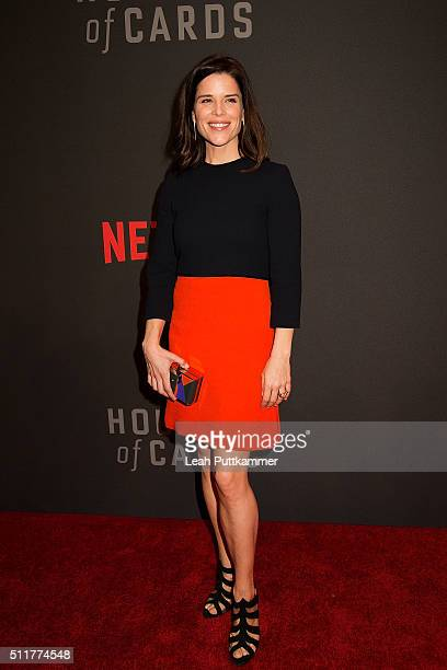 Actress Neve Campbell attends the season 4 premiere of Netflix's 'House of Cards' at the National Portrait Gallery on February 22 2016 in Washington...