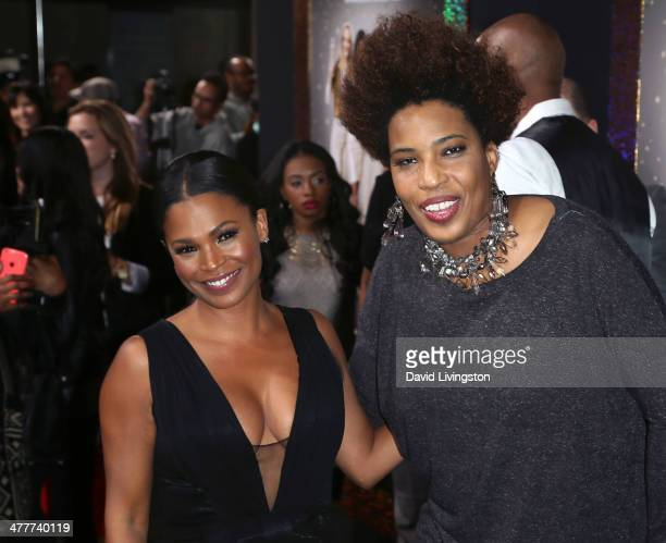 Actress Nia Long and singer Macy Gray attend the premiere of Tyler Perry's 'The Single Moms Club' at the ArcLight Cinemas Cinerama Dome on March 10...