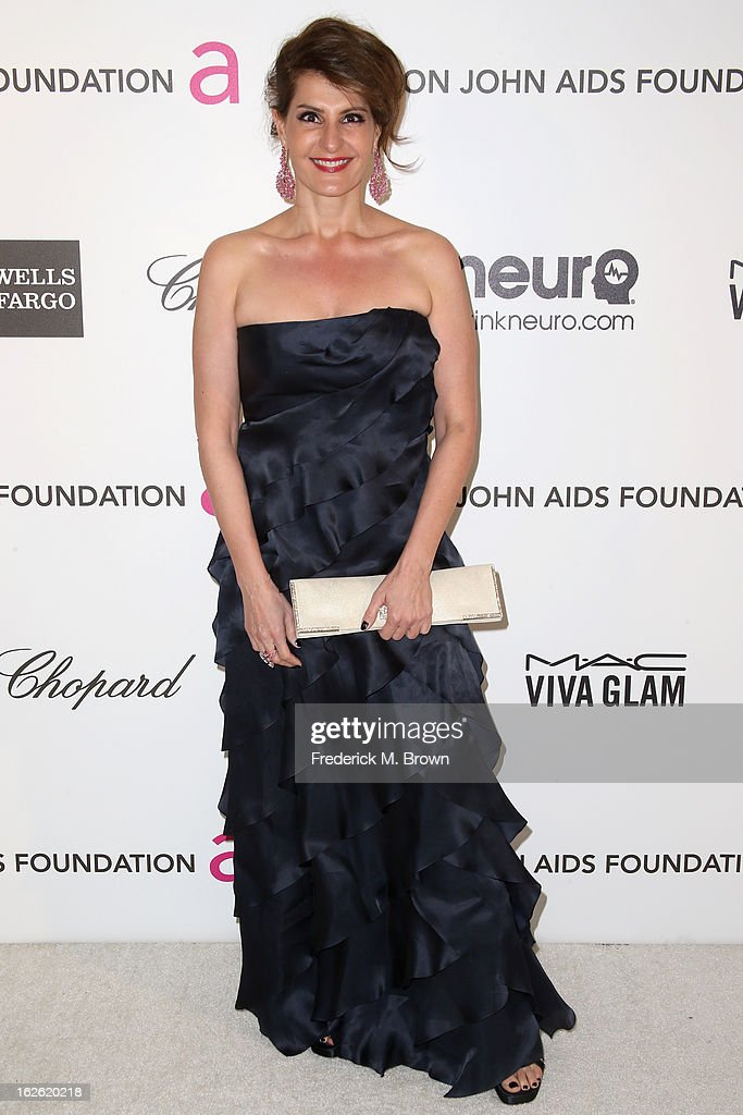 Actress Nia Vardalos arrives at the 21st Annual Elton John AIDS Foundation's Oscar Viewing Party on February 24, 2013 in Los Angeles, California.