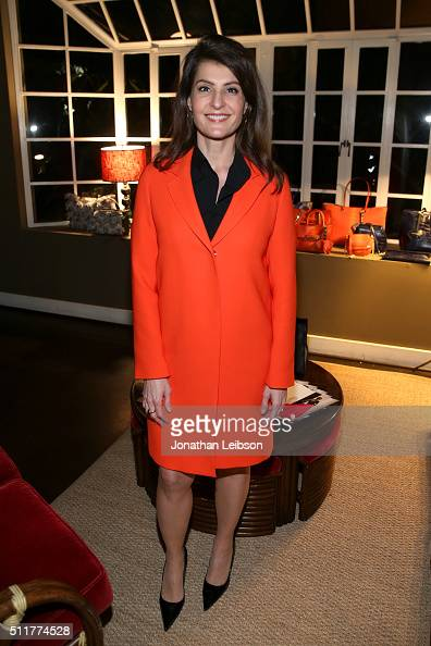 Actress Nia Vardalos attends a dinner for the launch of the first luxury handbag collection by Christian Siriano at Chateau Marmont on February 22...
