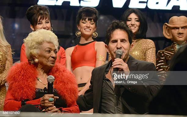Actress Nichelle Nichols and Adam Malin of Creation on day 2 of Creation Entertainment's Official Star Trek 50th Anniversary Convention at the Rio...