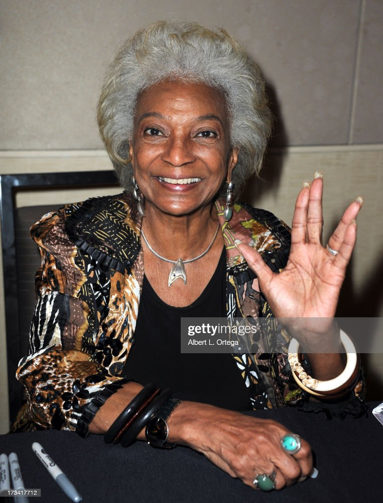 Actress <a gi-track='captionPersonalityLinkClicked' href=/galleries/search?phrase=Nichelle+Nichols&family=editorial&specificpeople=730322 ng-click='$event.stopPropagation()'>Nichelle Nichols</a> participates in The Hollywood Show held at Westin LAX Hotel on July 13, 2013 in Los Angeles, California.