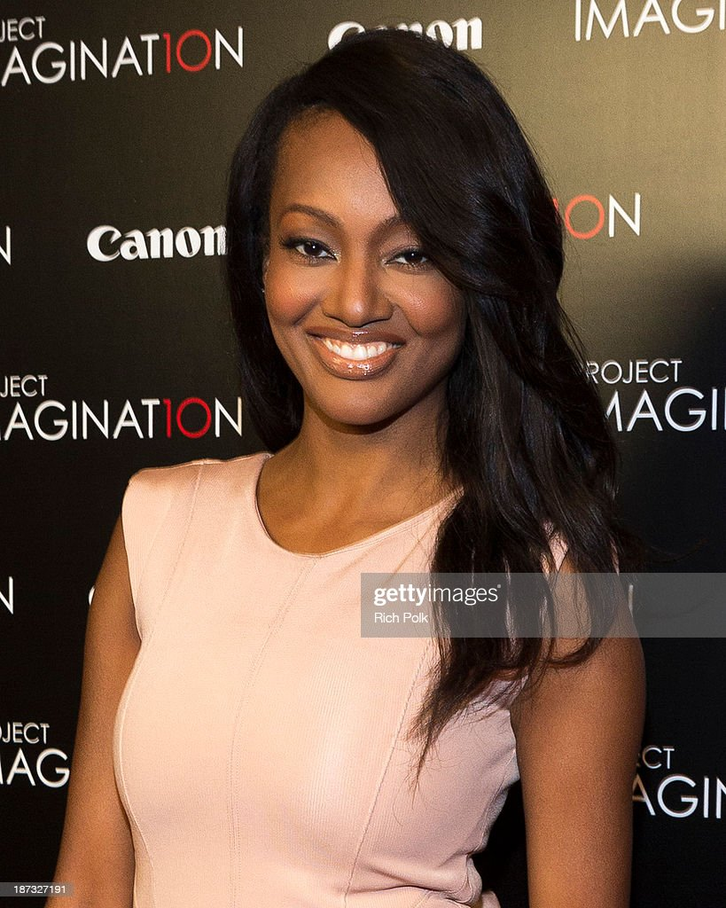 Actress Nichole Galicia arrives at Canon's Los Angeles Screening Of The Project Imaginat10n Film Festival at Pacific Theaters at the Grove on November 7, 2013 in Los Angeles, California.