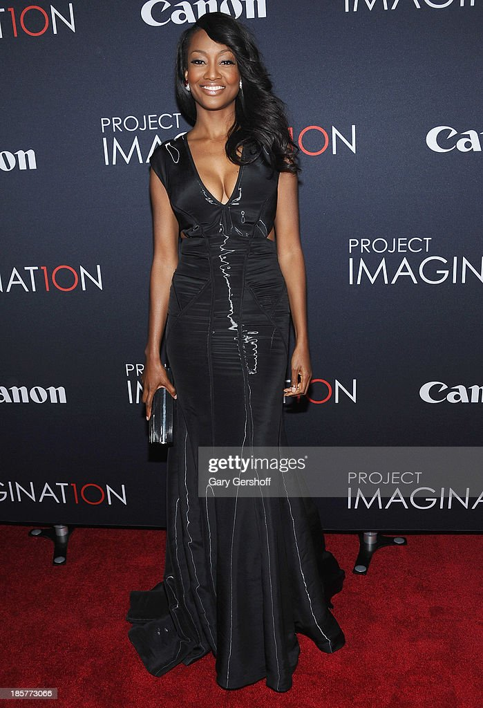 Actress Nichole Galicia attends Canon's 'Project Imaginat10n' Film Festival opening night at Alice Tully Hall at Lincoln Center on October 24 2013 in...