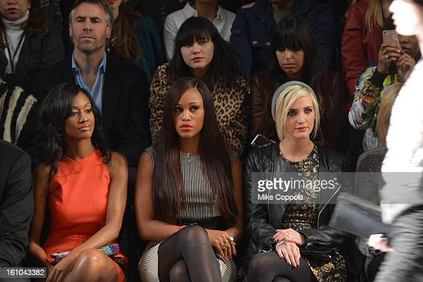 Actress Nichole Galicia singer Eve and Ashlee Simpson attend the Nicole Miller Fall 2013 fashion show during MercedesBenz Fashion Week at The Studio...