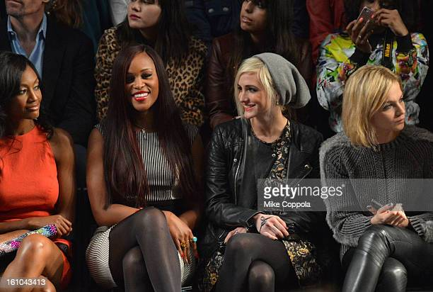 Actress Nichole Galicia singer Eve Ashlee Simpson and Leigh Lezark attend the Nicole Miller Fall 2013 fashion show during MercedesBenz Fashion Week...