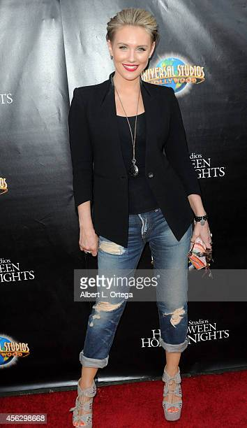 Actress Nicky Whelan arrives for Universal Studios Hollywood 'Halloween Horror Nights' Kick Off With The Annual 'Eyegore Awards' held at Universal...