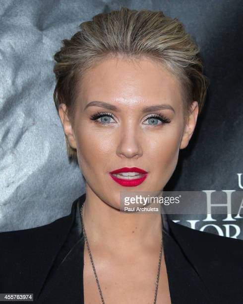 Actress Nicky Whelan attends 'Halloween Horror Nights' and the annual 'Eyegore Awards' at Universal Studios Hollywood on September 19 2014 in...