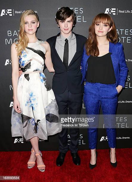 Actress Nicola Peltz actor Freddie Highmore and actress Olivia Cooke attend the Premiere of AE Network's 'Bates Motel' at the Soho House West...