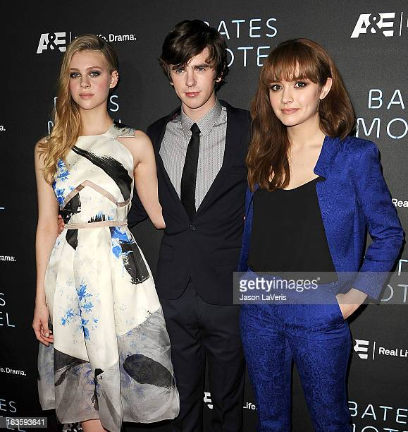 Actress Nicola Peltz actor Freddie Highmore and actress Olivia Cooke attend the premiere of 'Bates Motel' at Soho House on March 12 2013 in West...