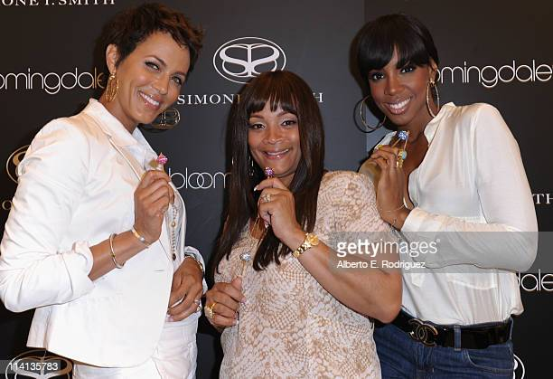 Actress Nicole Ari Parker designer Simone I Smith and singer Kelly Rowland attend a personal appearance by Simone I Smith at Bloomingdale's on May 12...