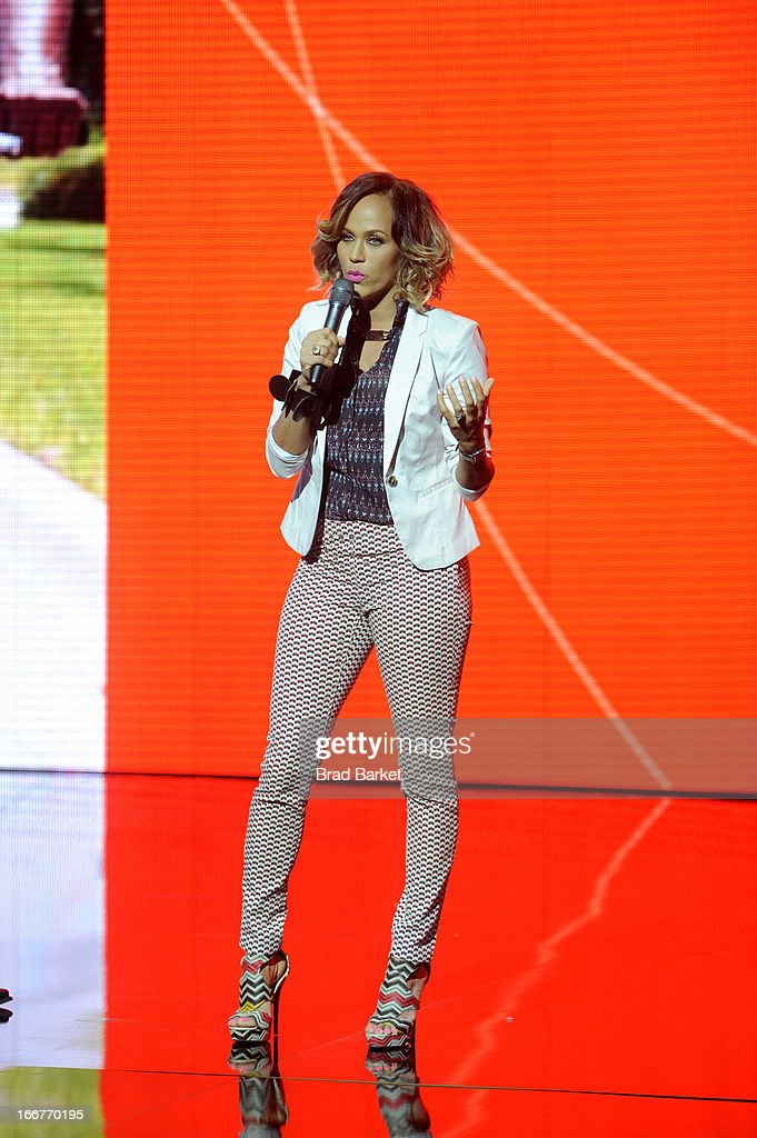 Actress Nicole Ari Parker speaks onstage at the BET Networks 2013 New York Upfront on April 16, 2013 in New York City.