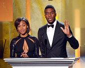 Actress Nicole Beharie and actor Chadwick Boseman speak onstage during the 45th NAACP Image Awards presented by TV One at Pasadena Civic Auditorium...