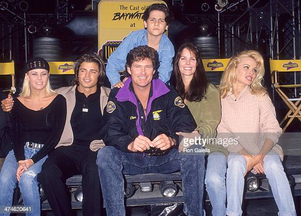 Actress Nicole Eggert actor David Charvet actor David Hasselhoff actress Alexandra Paul actress Pamela Anderson and actor Jeremy Jackson attend...