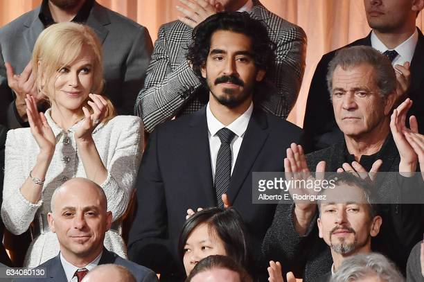 Actress Nicole Kidman actor Dev Patel and actor/filmmaker Mel Gibson attend the 89th Annual Academy Awards Nominee Luncheon at The Beverly Hilton...