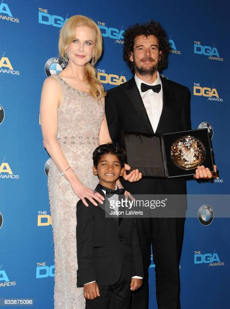 Actress Nicole Kidman actor Sunny Pawar and director Garth Davis pose in the press room at the 69th annual Directors Guild of America Awards at The...