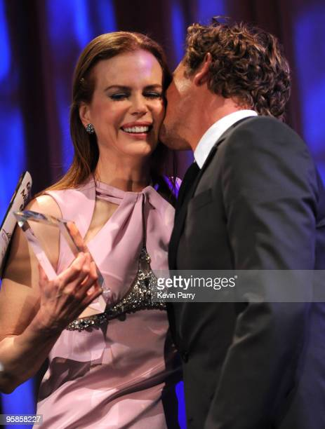 Actress Nicole Kidman and actor Simon Baker onstage at the G'Day USA 2010 Black Tie gala at the Hollywood Highland Center on January 16 2010 in...