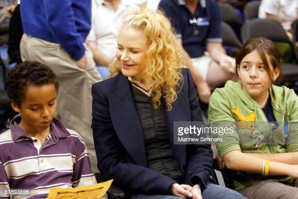 Actress Nicole Kidman and her children Connor and Isabella attend a game between the Los Angeles Lakers and the Miami Heat at the Staples Center...