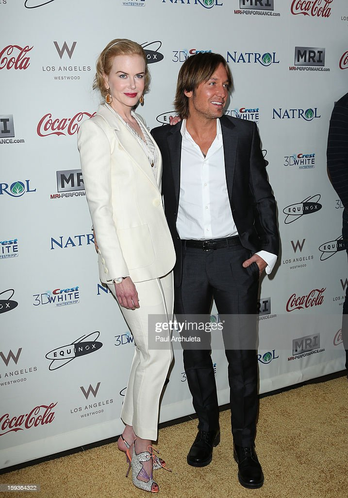 Actress <a gi-track='captionPersonalityLinkClicked' href=/galleries/search?phrase=Nicole+Kidman&family=editorial&specificpeople=156404 ng-click='$event.stopPropagation()'>Nicole Kidman</a> (L) and her husband/musician <a gi-track='captionPersonalityLinkClicked' href=/galleries/search?phrase=Keith+Urban&family=editorial&specificpeople=202997 ng-click='$event.stopPropagation()'>Keith Urban</a> (R) attend the 'Gold Meets Golden' event on January 12, 2013 in Los Angeles, California.