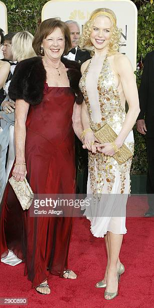 Actress Nicole Kidman and her mother Janelle attend the 61st Annual Golden Globe Awards at the Beverly Hilton Hotel on January 25 2004 in Beverly...