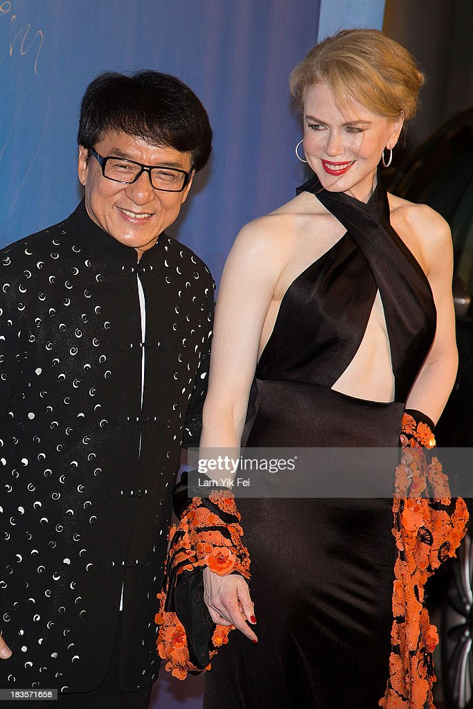 Actress Nicole Kidman (R) and Hong Kong action star Jackie Chan arrive at the red carpet during 2013 Huading Awards Ceremony at The Venetian on October 7, 2013 in Macau, Macau.