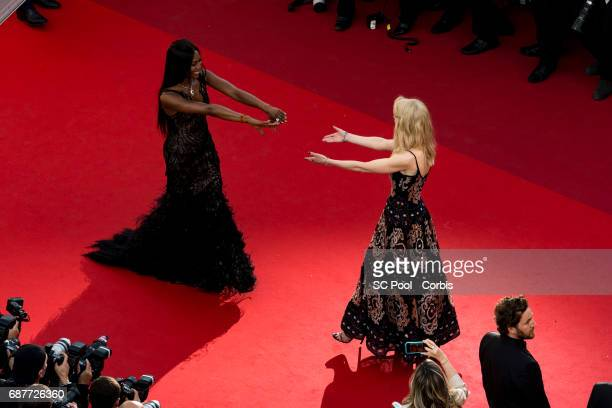 Actress Nicole Kidman and model Naomie Campbell attend the 70th Anniversary of the 70th annual Cannes Film Festival at Palais des Festivals on May 23...