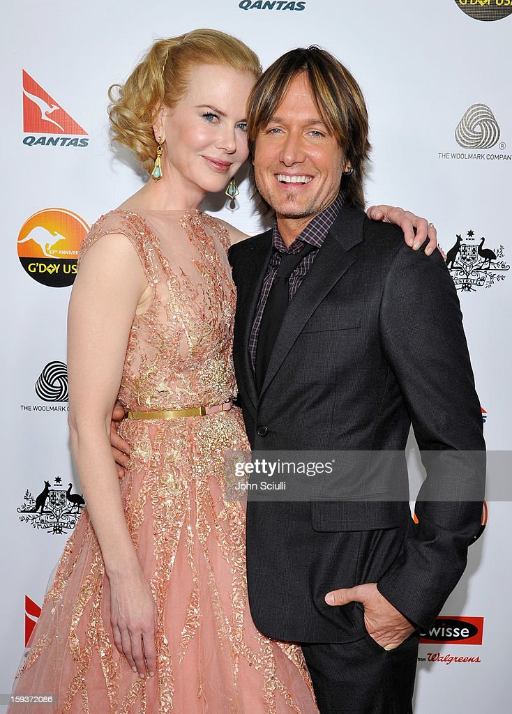 Actress <a gi-track='captionPersonalityLinkClicked' href=/galleries/search?phrase=Nicole+Kidman&family=editorial&specificpeople=156404 ng-click='$event.stopPropagation()'>Nicole Kidman</a> and musician <a gi-track='captionPersonalityLinkClicked' href=/galleries/search?phrase=Keith+Urban&family=editorial&specificpeople=202997 ng-click='$event.stopPropagation()'>Keith Urban</a> arrive at the 2013 G'Day USA Los Angeles Black Tie Gala at JW Marriott Los Angeles at L.A. LIVE on January 12, 2013 in Los Angeles, California.