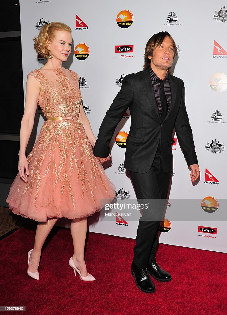 Actress <a gi-track='captionPersonalityLinkClicked' href=/galleries/search?phrase=Nicole+Kidman&family=editorial&specificpeople=156404 ng-click='$event.stopPropagation()'>Nicole Kidman</a> and musician <a gi-track='captionPersonalityLinkClicked' href=/galleries/search?phrase=Keith+Urban&family=editorial&specificpeople=202997 ng-click='$event.stopPropagation()'>Keith Urban</a> arrive for the G'Day USA Black Tie Gala held at at the JW Marriot at LA Live on January 12, 2013 in Los Angeles, California.